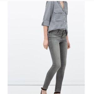 Zara Sz 4 Skinny Jeans Gray Colored Fitted Denim